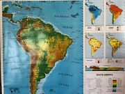 Pull Down School Maps 1 Layer South America Vintage Salvage Old Antique.
