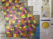 Pull Down School Map Of The State Of Georgia, Vintage, Salvage, Old, Antique.