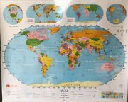 Pull Down School Map 1 Layer World. Vintage, Old, Antique.