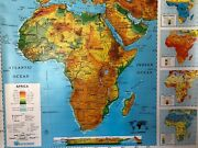 Pull Down School Maps 2 Layer Africa. Vintage Salvage Old Antique.