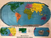 Pull Down School Political Map Of The World. Vintage Salvage Old Antique.