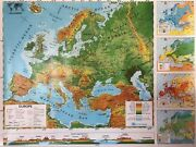 Pull Down School Maps 2 Layer Europe. Vintage Salvage Old Antique.