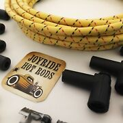 25ft Yellow/red/blk Cloth Covered Spark Plug Wire Kit For Electronic Ign Systems