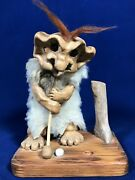 Vintage Good Luck Lake Superior Clay Sand Forest Golfer Troll Signed Steele
