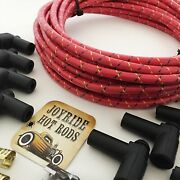 Red/yellow/blk Vintage Cloth Spark Plug Wire Kit For Electronic Ignition Systems