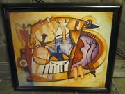 Alfred Gockel 2003 Genuine Lithograph Canvas Signed Abstract