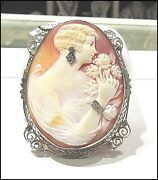 Estate Sale Antique Large Lady Cameo Brooch White-gold Filigree Frame Clearance