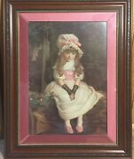Vintage Framed Lithograph Art Print Victorian Young Girl Cherry Ripe Pears Soap