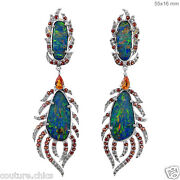 Solid 18k White Gold Feather Dangle Earrings Pave Diamond Sapphire Opal Gemstone