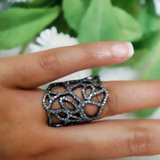 925 Sterling Silver Antique Style Diamond Pave Cage Ring Handmade Jewelry Us 7