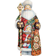G. Debrekht   Give A Gift Santa Figurine ✪new✪ 215823 Wood Rare Holiday Carving