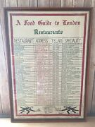 Antique Glass Framed Linen And039a Food Guide To London Restaurantsand039 32x23 Decor