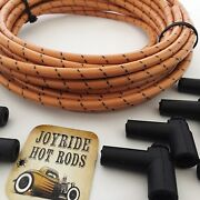 25ft Cloth Covered Spark Plug Wire Kit For Electronic Ignition Systems Amber/blk