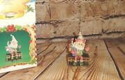 Vintage 1986 Enesco The North Pole Village Dapper Holiday Elf Sitting On Trunk
