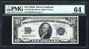 Key Note 1934b 10 ♚♚silver Certificate♚♚ Pmg Ch Unc 64 Hard To Find