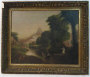 Antique Allegorical Oil Painting Landscape With Angels After Thomas Cole