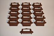 Lot Of 16 Matching Cast Iron Apothecary Hardware Name Plate Bin Bulls Victorian