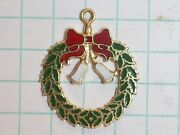 Gold Pendant Wreath Bells Ribbon Gold Red White Green Colors 14k 1.5 Pennyweight