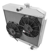 V8 Mount 1955 - 57 Chevrolet One-fifty 3 Row Dr Radiator 2 X 10 Fan Combo