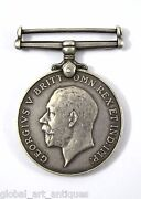 Old Collectible Real Wwi British War Silver Medal 1914-1918 George V. G29-25 Us