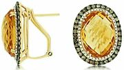 41.64ct White And Chocolate Fancy Diamond And Citrine Oval 14kt Yellow Gold Earrings