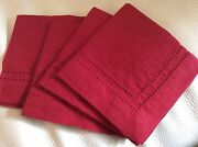 Williams Sonoma 4 Linen Double Hemstitch Red Cocktail Napkins New Christmas
