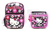 Sanrio Hello Kitty Girls 16 Canvas Pink And Black School Backpack With Wallet