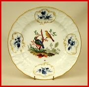 Rare Meissen Porcelain Plate Mid 18th Century With Birds In Landscape