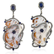Unique 78.3 Ct Gemstone Pave Diamond 18kt Gold Sterling Silver Dangle Earrings