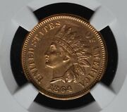 1864 L Indian 1c, Very Red, Ngc Certified Almost Uncirclated With 'l' On Ribbon