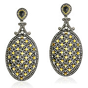 4.97ct Citrine Pave Diamond Dangle Earrings 18k Gold 925 Sterling Silver Jewelry