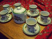 6 Yamaka In Noel Cup And 8 Saucer Set 3 3/4  Ex Made In Japan Free Teapot