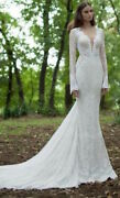 Berta Bridal 14-21 Long Sleeve Lace Wedding Gown - Size 42 - Auth Worn Once