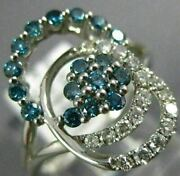 Estate .75ct White And Blue Diamond 14kt White Gold 3d Flower Love Knot Fun Ring