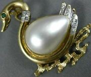 Antique .21ct Diamond Emerald And Mabe Pearl 14kt 2 Tone Gold Duck Pendant Brooch