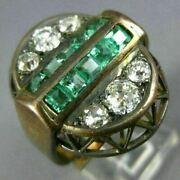 Antique Large 2.52ct Old Mine Diamond And Aaa Emerald 14k Yellow Gold 3d Oval Ring