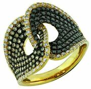 1.50ct White Black And Chocolate Fancy Diamond 14kt Yellow Gold 3d Love Knot Ring