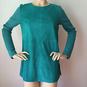 New St John Knit 4 Top Verde Green Milano Knit And Suede