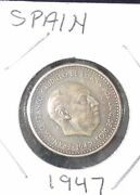 Very Nice 1947 Spainextra Fineone Peseta Coin Km 775 See Description Below