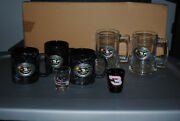 Dale Earnhardt Glass Beer Mugs With 3 Raised Pewter Emblem And Shot Glasses