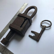 An Old Or Antique Iron Padlock Lock With Original Key Most Rare And Early