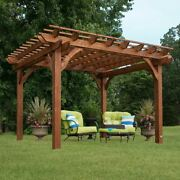 Outdoor Cedar Pergola Garden Patio Backyard Free Standing Wooden Gazebo 10 X 12
