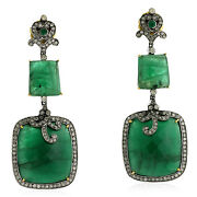 Real Diamond And Emerald Dangle Earrings Gold 925 Sterling Silver Handmade Jewelry