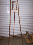 Victorian Stick And Ball Oak Easel - With Period Brass Hardware - Pristine