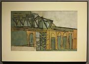 Stanley Bate C1950 Mid-century Modernist Abstract Architectural Cubist Painting