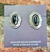 Navajo Black Onyx Beveled Silver Post Earrings Native American Collectible, Usa