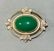 Vintage Jade Green Color Cabochon Faux Pearl Ornate Gold Tone Brooch Pin 2d 108