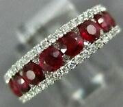 Wide 1.67ct Diamond And Aaa Ruby 18kt White Gold 3d Semi Eternity Anniversary Ring