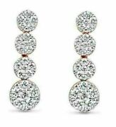Estate Large .7ct Diamond 18k White And Rose Gold Cluster Journey Hanging Earrings