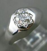 Antique Wide .40ct Old Mine Diamond 14k White Gold Classic Mens Gypsy Ring 24663